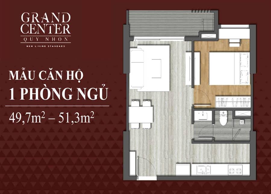 Bản vẽ thiết kế căn hộ Grand Center 1 phòng ngủ