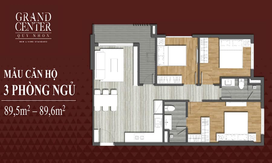 Bản vẽ thiết kế căn hộ Grand Center 3 phòng ngủ