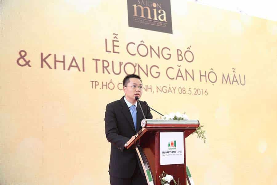 Ông Đoàn Thanh Ngọc – Phó Tổng Giám đốc Thường trực Hung Thinh Land công bố chính sách bán hàng đặc biệt chỉ có tại buổi lễ dành cho các khách hàng