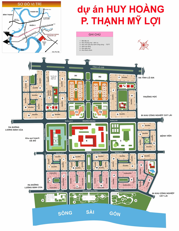 Bản đồ dự án HUY HOÀNG phường Thạnh Mỹ Lợi