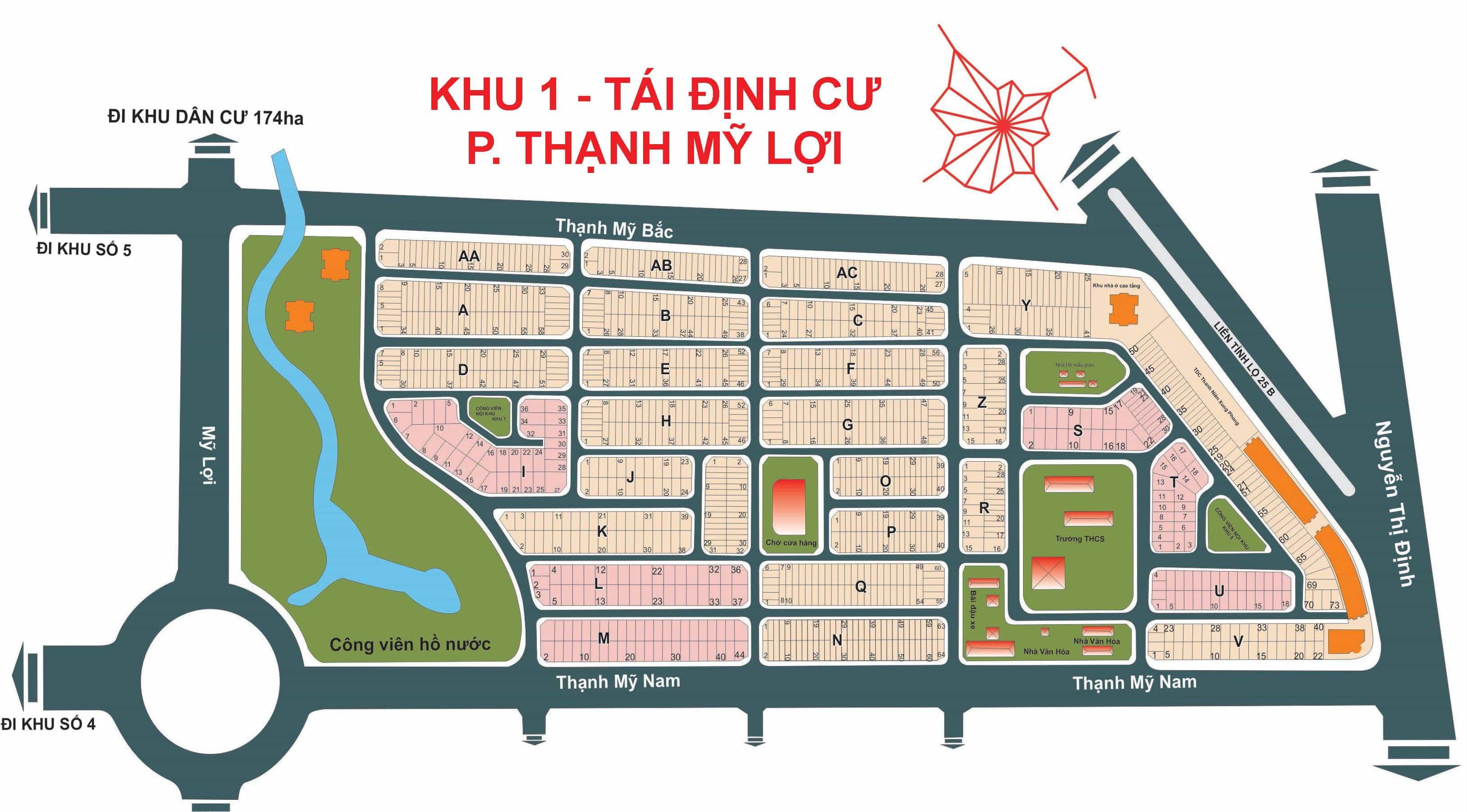 Bản đồ Dự án Tái Định Cư khu 1 - phường Thạnh Mỹ Lợi
