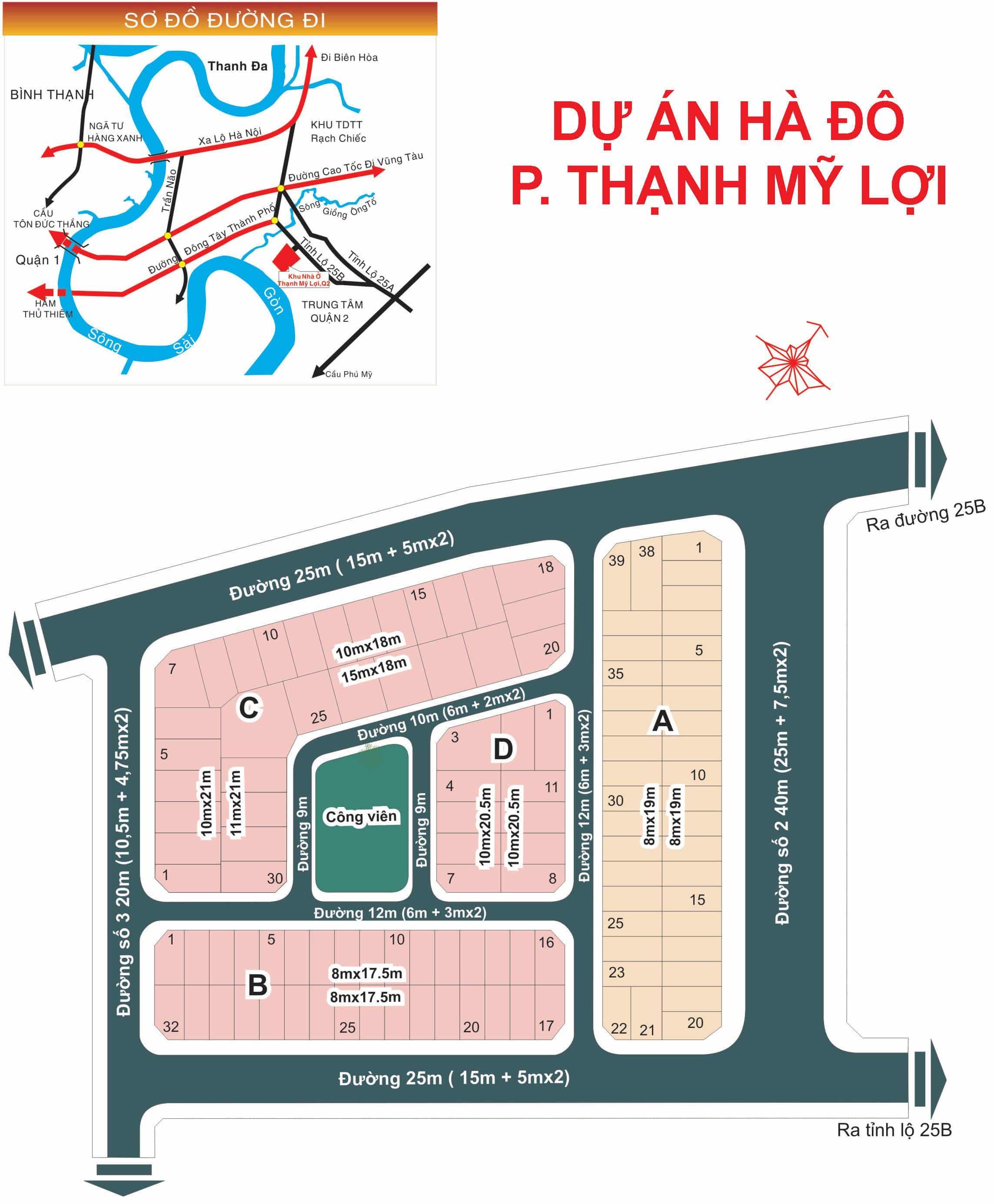 Bản đồ Dự án HÀ ĐÔ phường Thạnh Mỹ Lợi