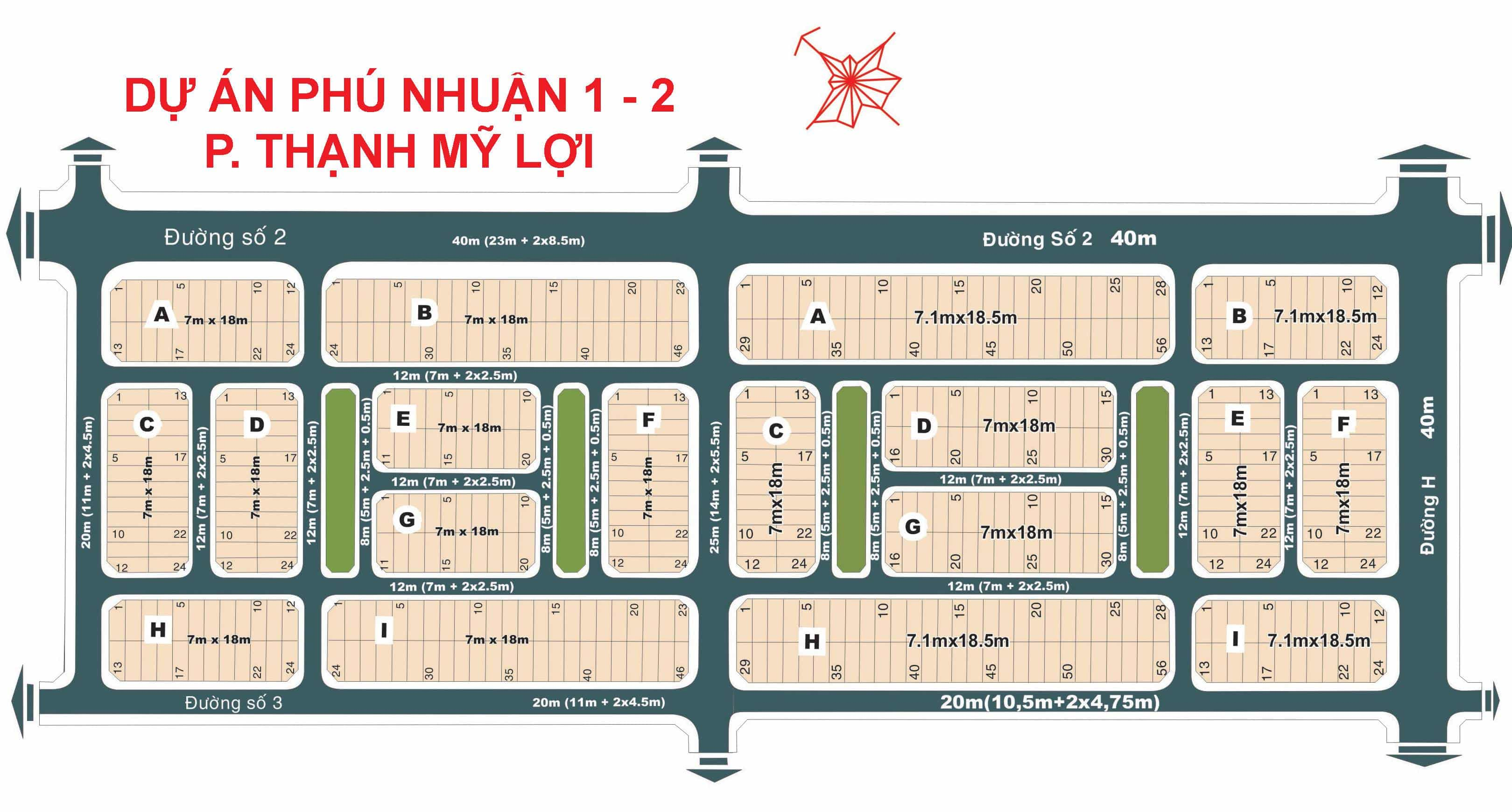 Bản đồ Dự án Phú Nhuận 1-2 phường Thạnh Mỹ Lợi