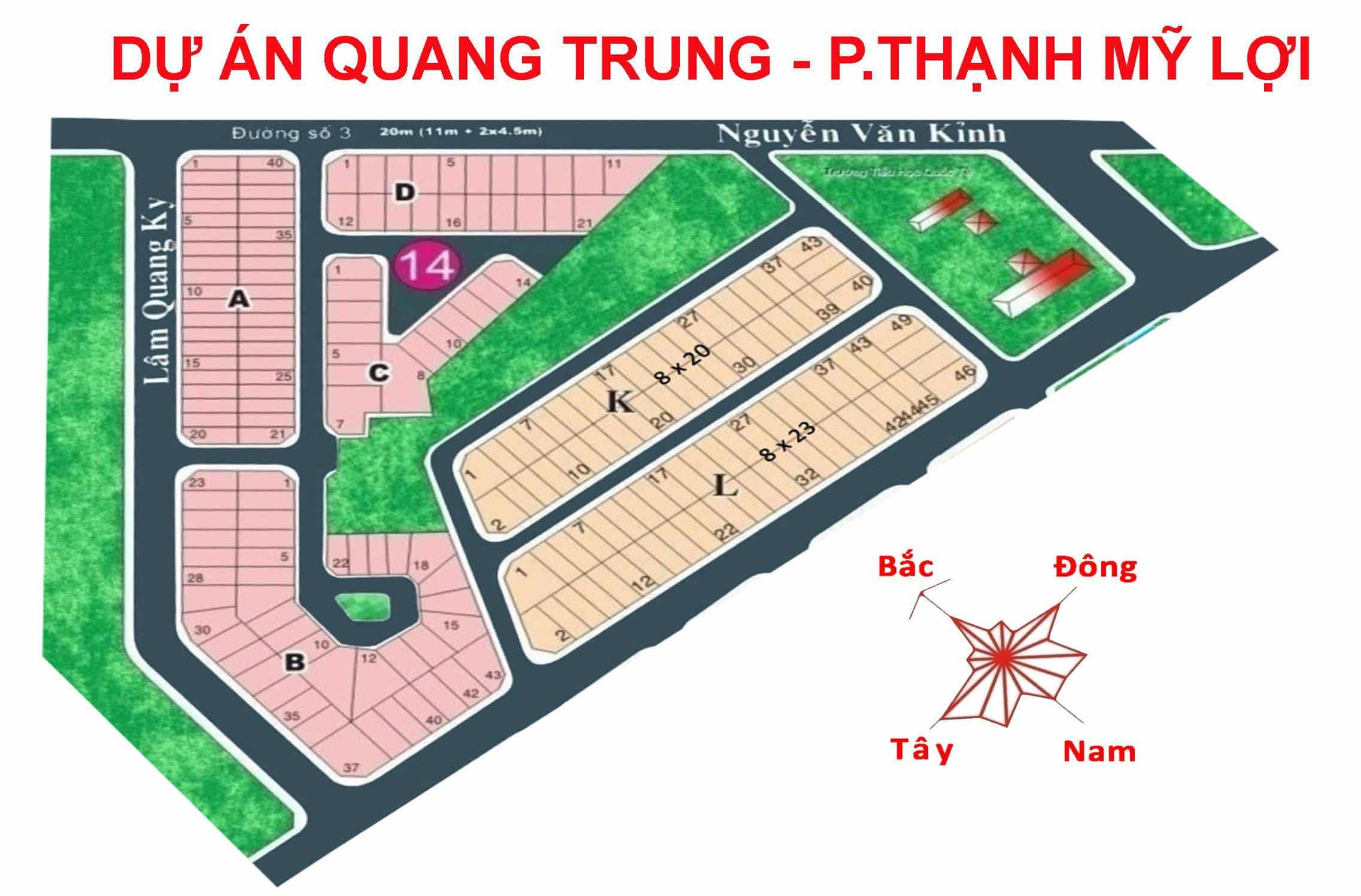 Bản đồ Dự án Quang Trung phường Thạnh Mỹ Lợi