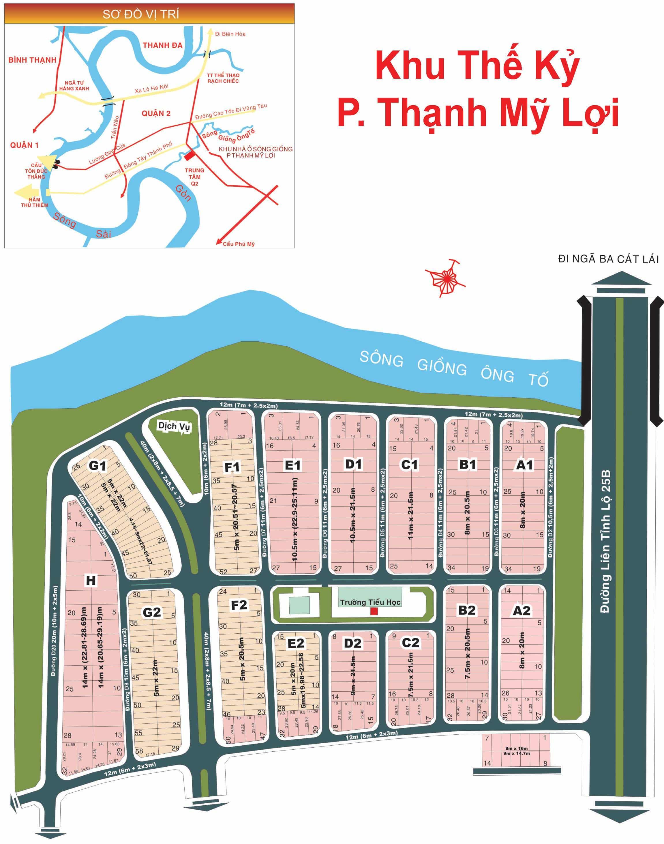 Bản đồ Dự án Thế Kỷ phường Thạnh Mỹ Lợi