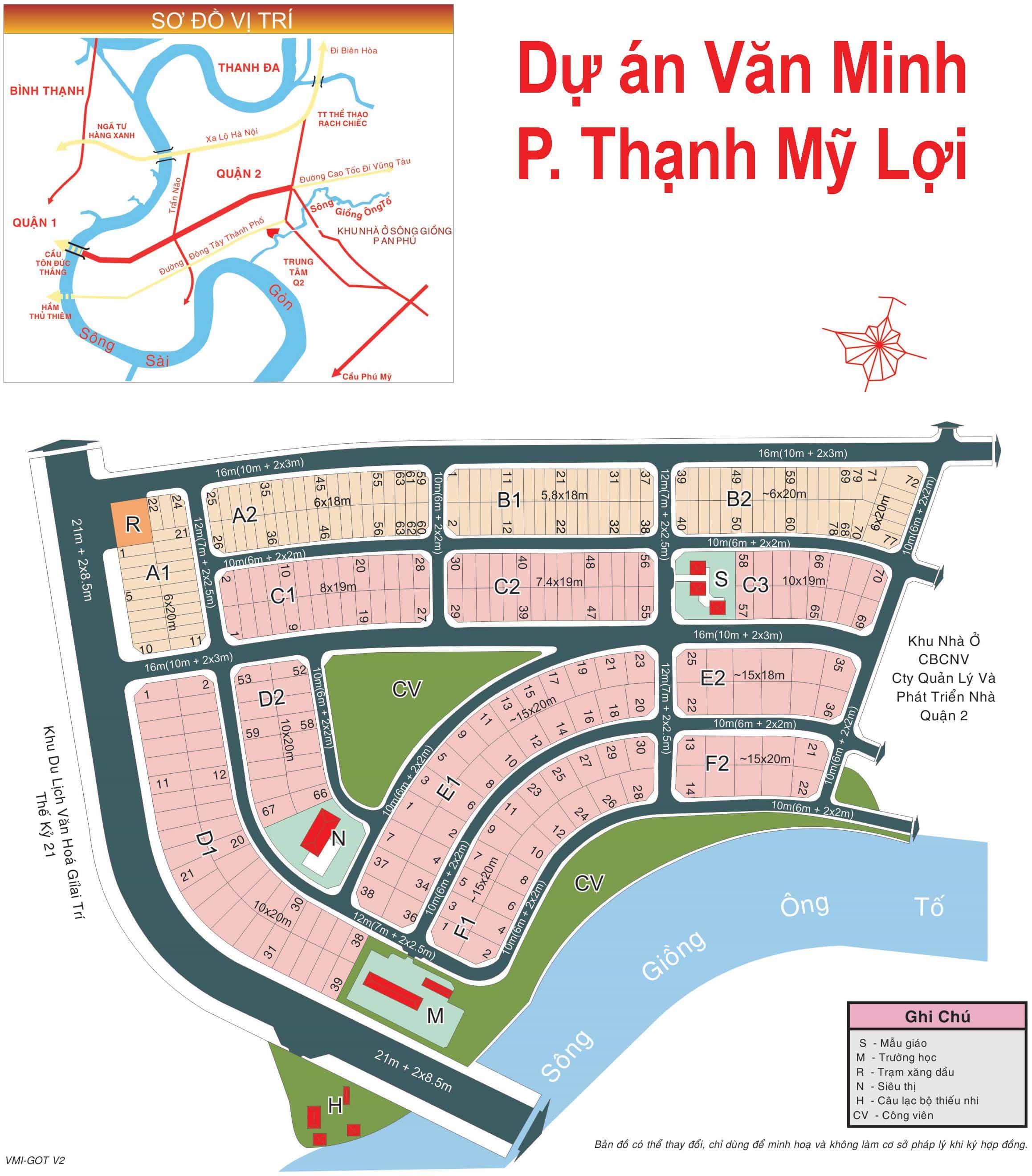 Bản đồ dự án khu Văn Minh phường Thạnh Mỹ Lợi