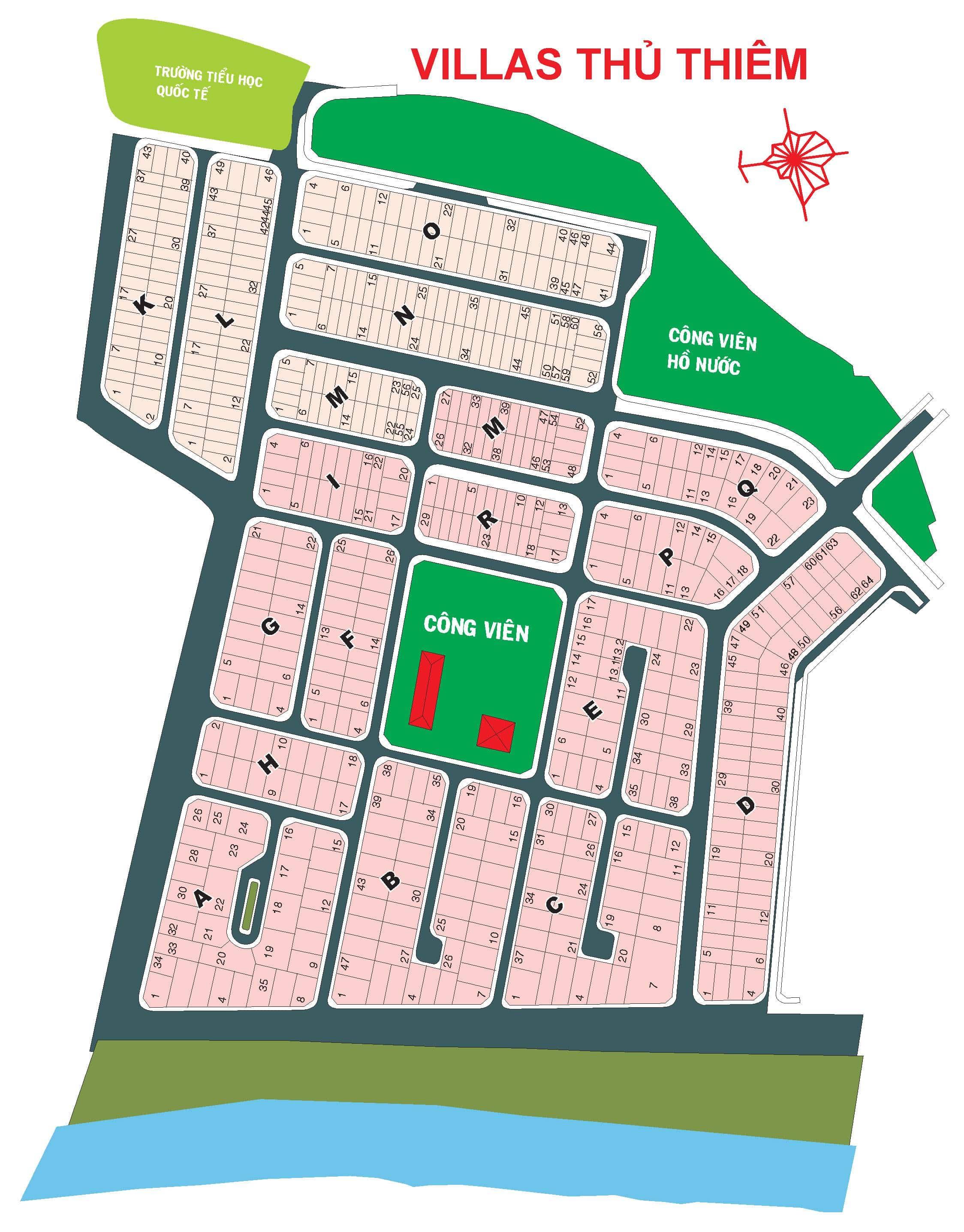 Bản đồ Khu Villas Thủ Thiêm phường Thạnh Mỹ Lợi