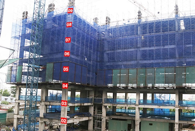 Thi công cột sàn tầng 10 - Block B.