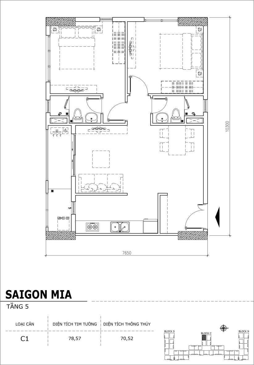 Chi tiết thiết kế căn hộ sân vườn Sài Gòn Mia tầng 5, mã căn C01