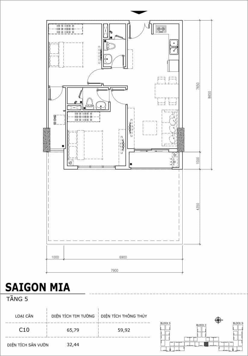 Chi tiết thiết kế căn hộ sân vườn Sài Gòn Mia tầng 5, mã căn C10