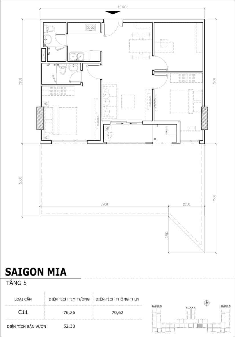 Chi tiết thiết kế căn hộ sân vườn Sài Gòn Mia tầng 5, mã căn C11