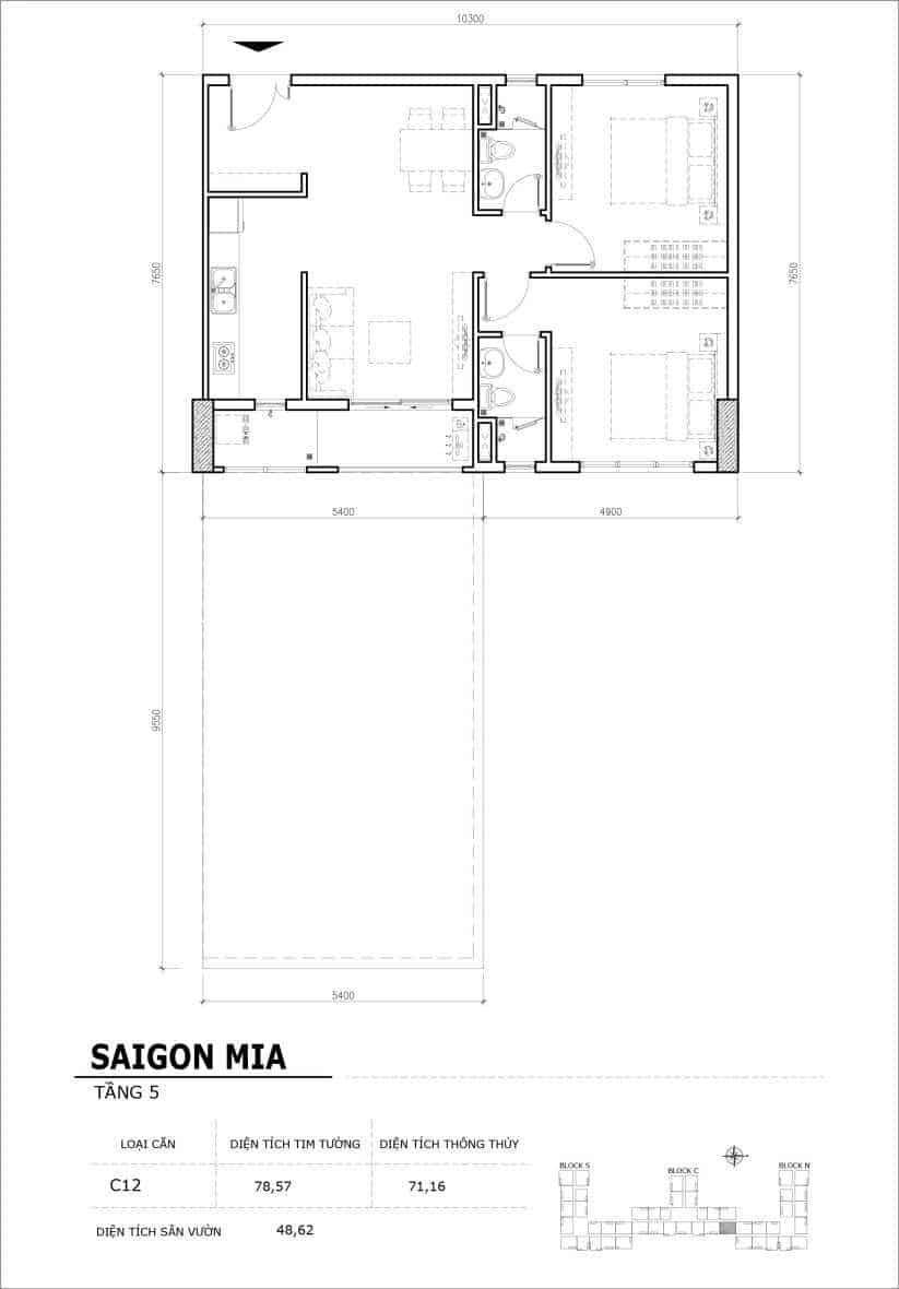 Chi tiết thiết kế căn hộ sân vườn Sài Gòn Mia tầng 5, mã căn C12