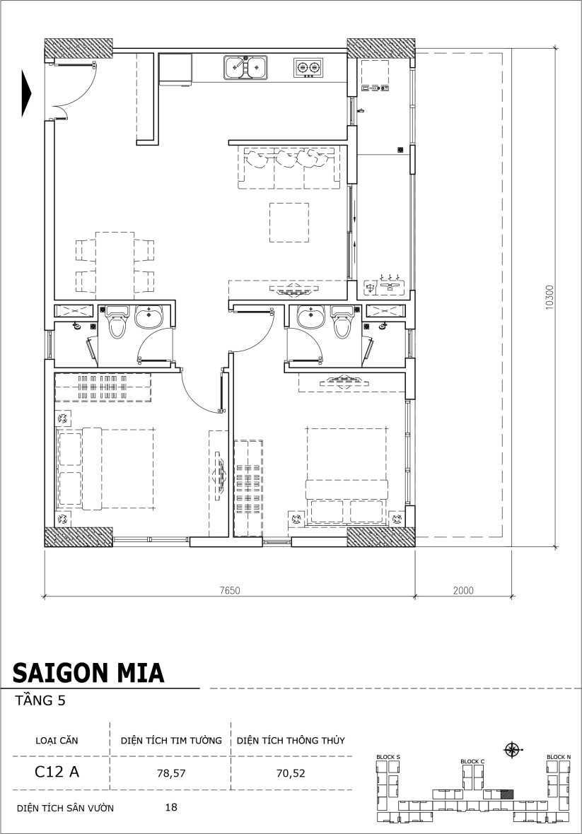 Chi tiết thiết kế căn hộ sân vườn Sài Gòn Mia tầng 5, mã căn C12A