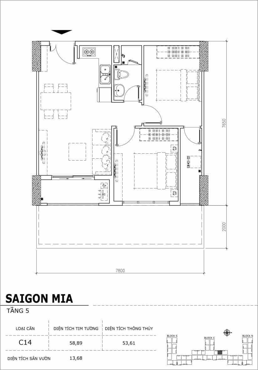 Chi tiết thiết kế căn hộ sân vườn Sài Gòn Mia tầng 5, mã căn C14