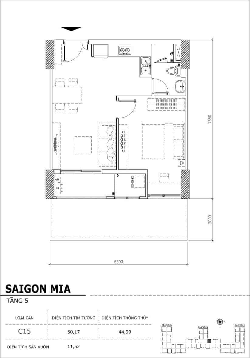 Chi tiết thiết kế căn hộ sân vườn Sài Gòn Mia tầng 5, mã căn C15