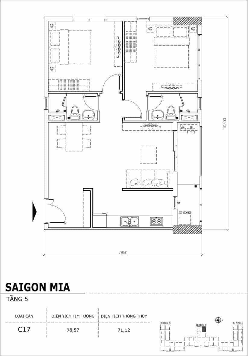 Chi tiết thiết kế căn hộ sân vườn Sài Gòn Mia tầng 5, mã căn C17