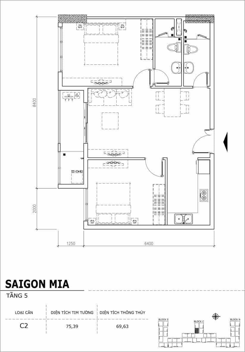 Chi tiết thiết kế căn hộ sân vườn Sài Gòn Mia tầng 5, mã căn C02
