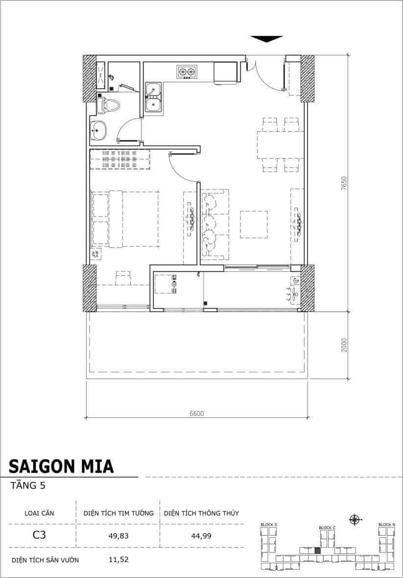 Chi tiết thiết kế căn hộ sân vườn Sài Gòn Mia tầng 5, mã căn C03