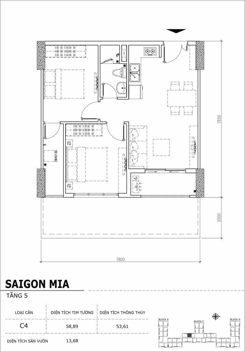 Chi tiết thiết kế căn hộ sân vườn Sài Gòn Mia tầng 5, mã căn C04