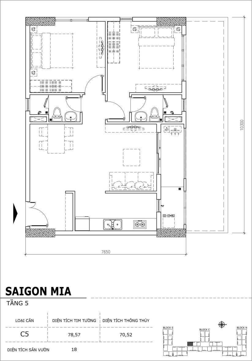 Chi tiết thiết kế căn hộ sân vườn Sài Gòn Mia tầng 5, mã căn C05
