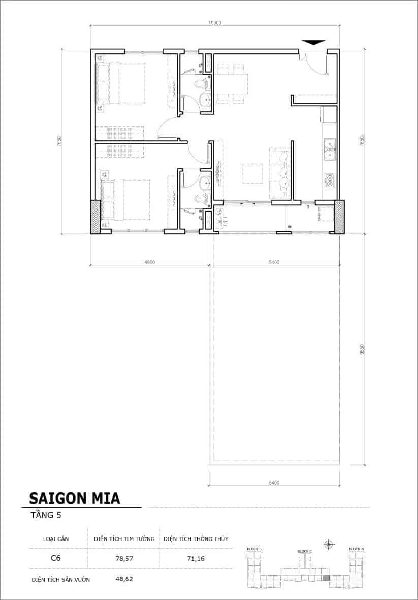 Chi tiết thiết kế căn hộ sân vườn Sài Gòn Mia tầng 5, mã căn C06