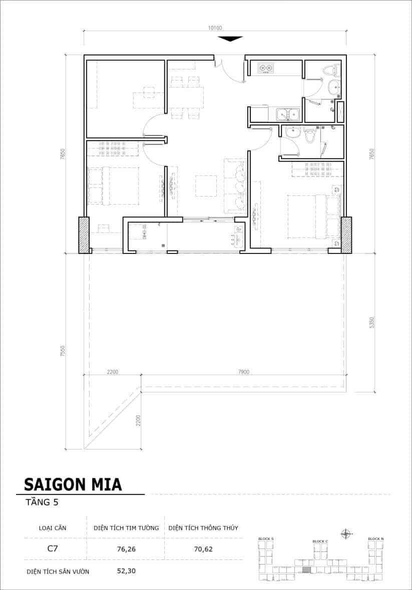 Chi tiết thiết kế căn hộ sân vườn Sài Gòn Mia tầng 5, mã căn C07