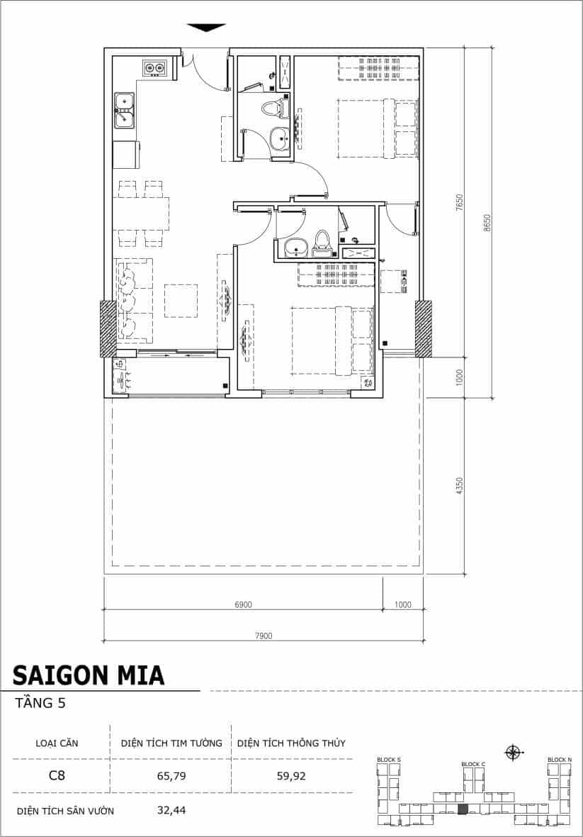 Chi tiết thiết kế căn hộ sân vườn Sài Gòn Mia tầng 5, mã căn C08