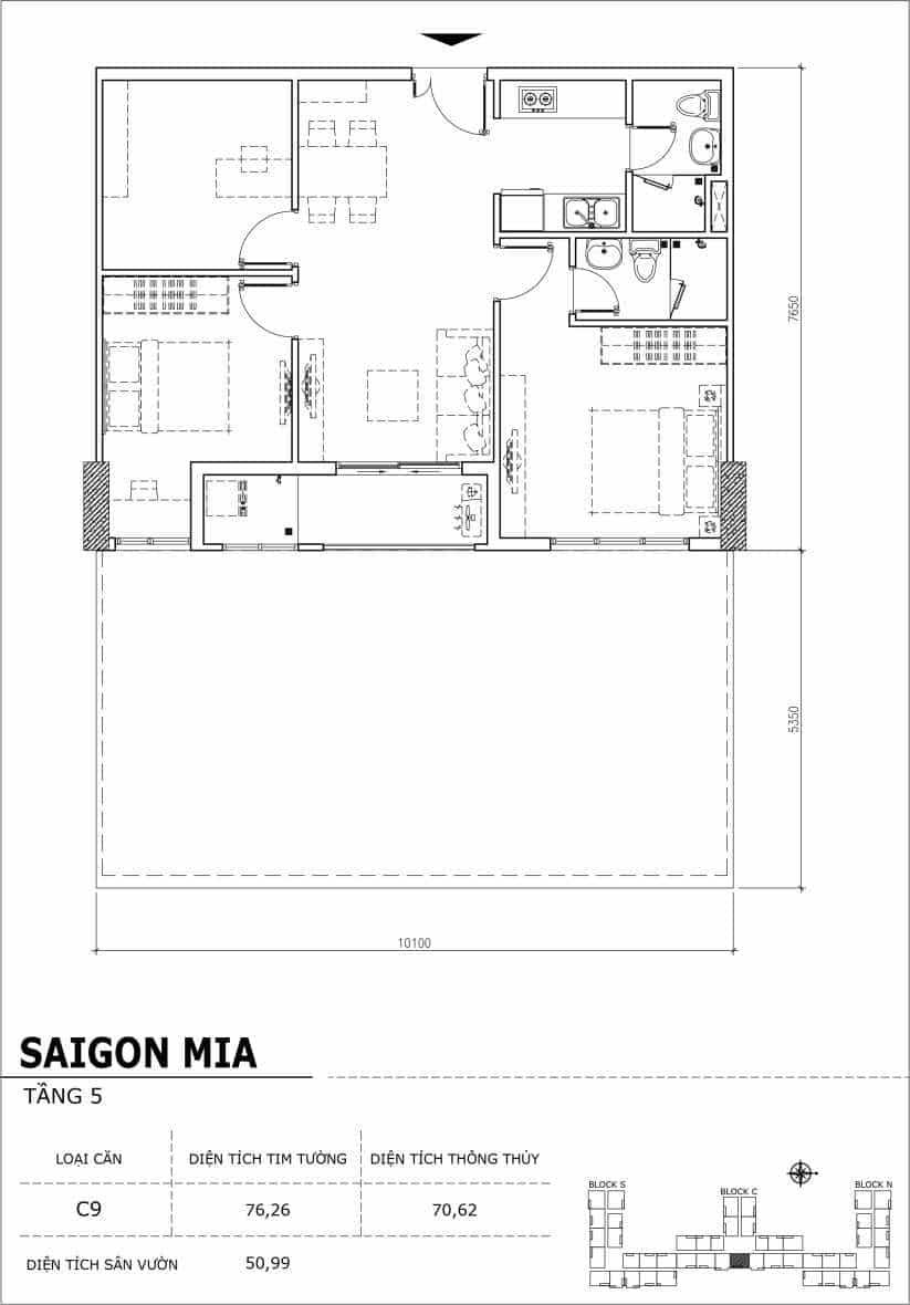 Chi tiết thiết kế căn hộ sân vườn Sài Gòn Mia tầng 5, mã căn C09