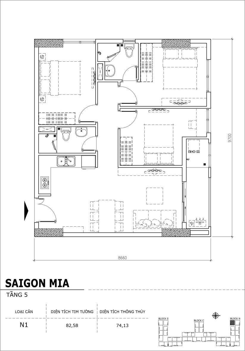 Chi tiết thiết kế căn hộ sân vườn Sài Gòn Mia tầng 5, mã căn N1