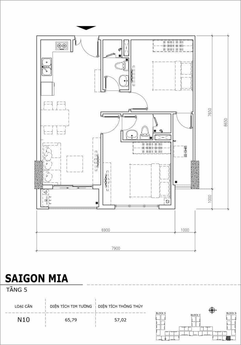 Chi tiết thiết kế căn hộ sân vườn Sài Gòn Mia tầng 5, mã căn N10