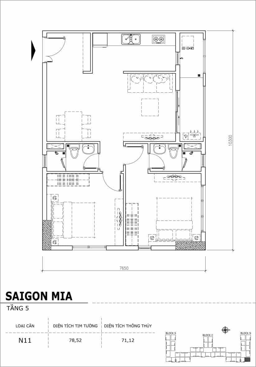 Chi tiết thiết kế căn hộ sân vườn Sài Gòn Mia tầng 5, mã căn N11