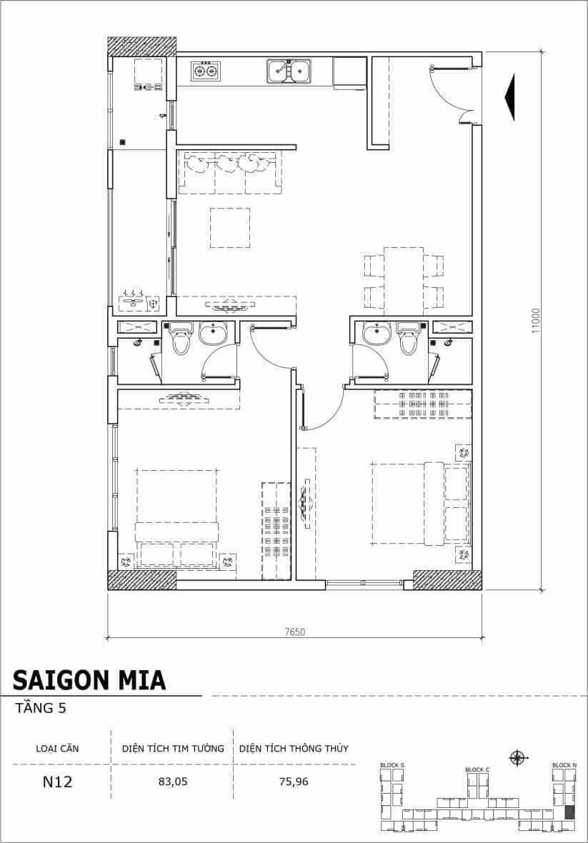 Chi tiết thiết kế căn hộ sân vườn Sài Gòn Mia tầng 5, mã căn N12