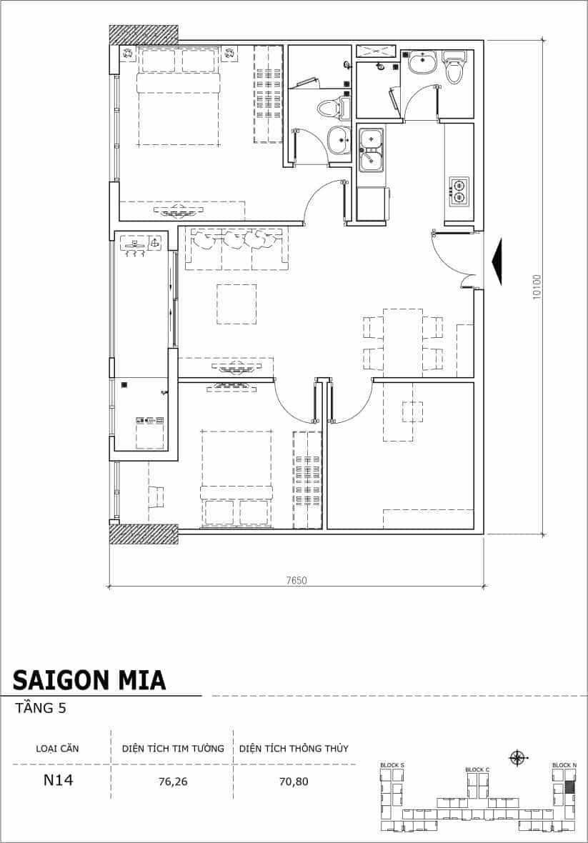 Chi tiết thiết kế căn hộ sân vườn Sài Gòn Mia tầng 5, mã căn N14