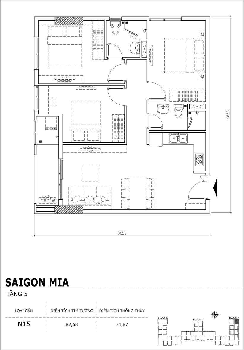Chi tiết thiết kế căn hộ sân vườn Sài Gòn Mia tầng 5, mã căn N15