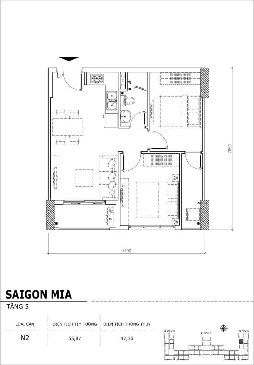 Chi tiết thiết kế căn hộ sân vườn Sài Gòn Mia tầng 5, mã căn N2