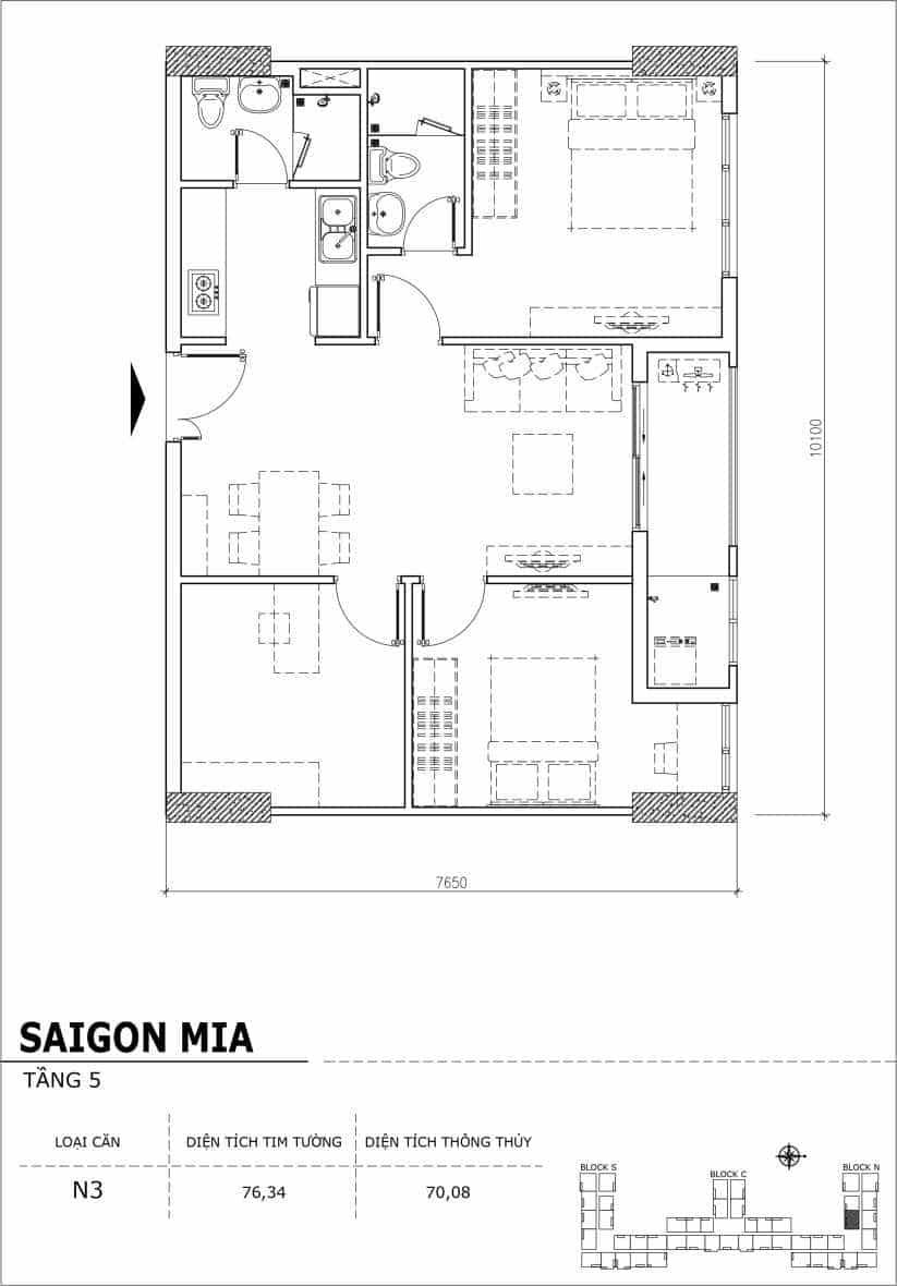 Chi tiết thiết kế căn hộ sân vườn Sài Gòn Mia tầng 5, mã căn N3