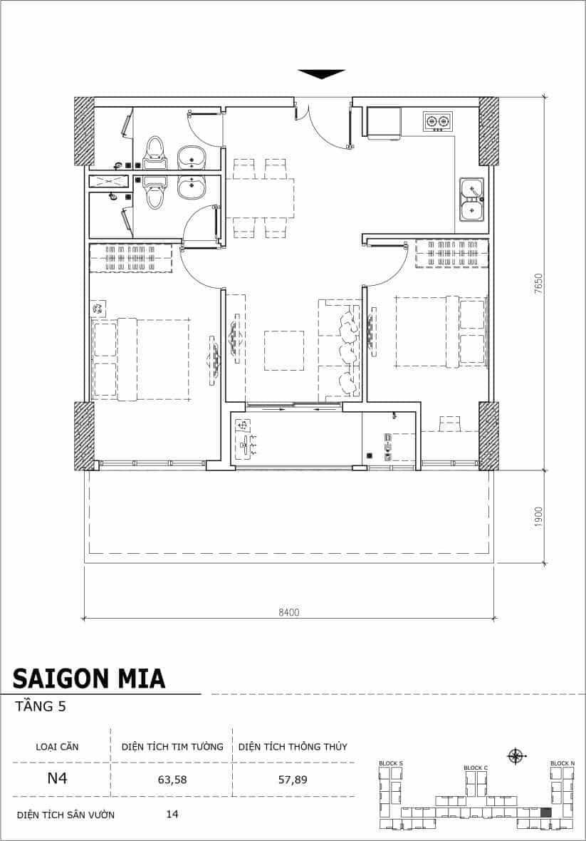Chi tiết thiết kế căn hộ sân vườn Sài Gòn Mia tầng 5, mã căn N4