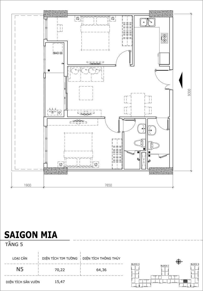 Chi tiết thiết kế căn hộ sân vườn Sài Gòn Mia tầng 5, mã căn N5