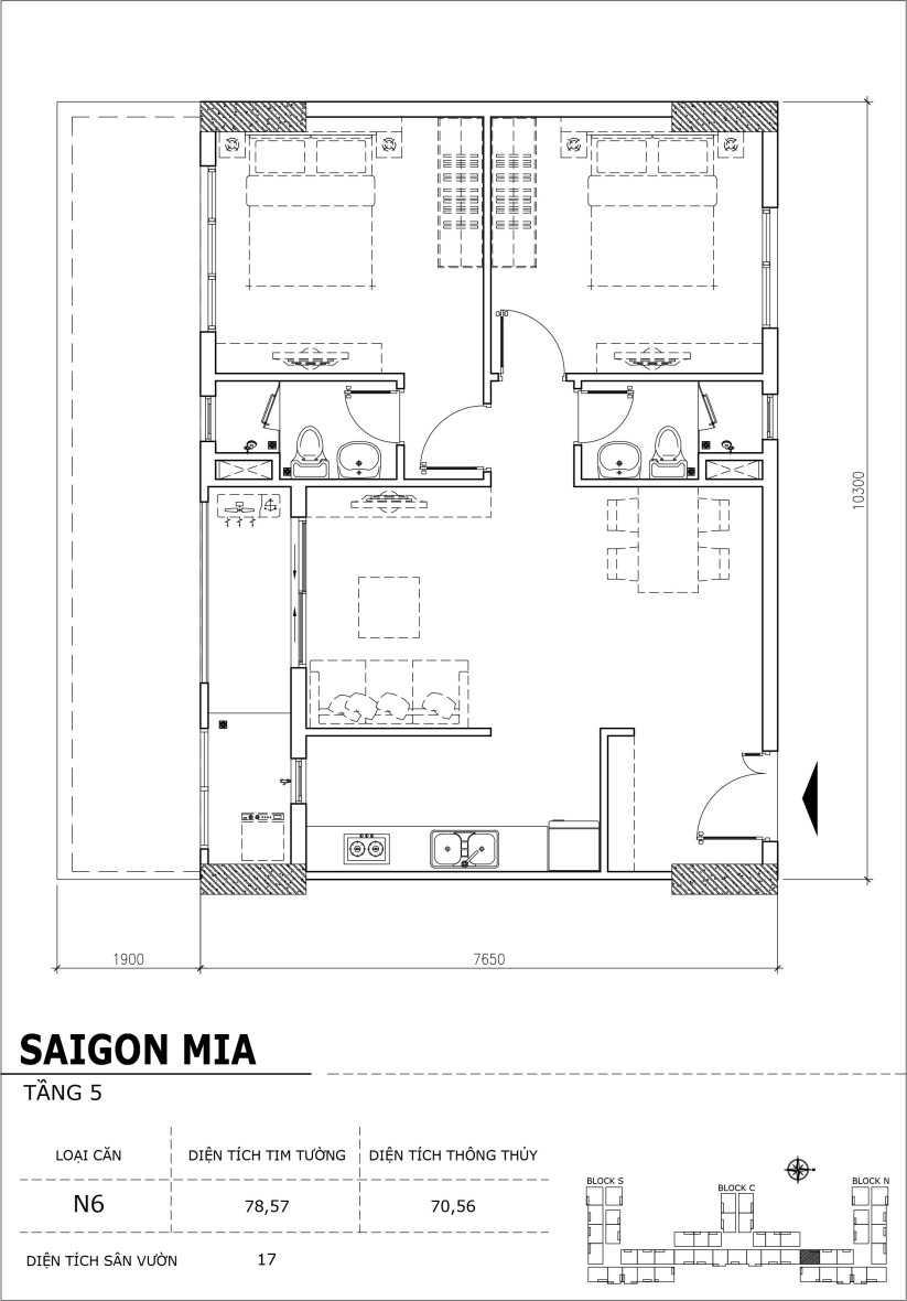 Chi tiết thiết kế căn hộ sân vườn Sài Gòn Mia tầng 5, mã căn N6