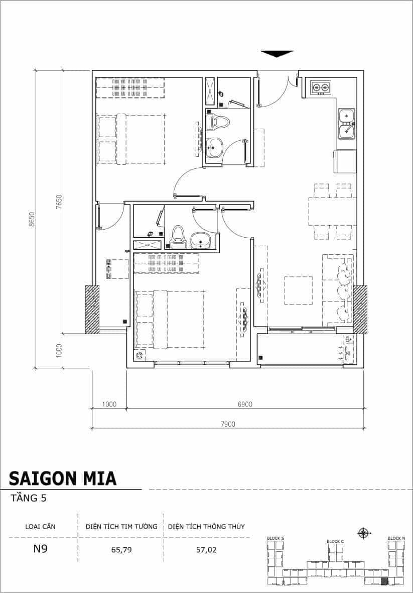 Chi tiết thiết kế căn hộ sân vườn Sài Gòn Mia tầng 5, mã căn N9