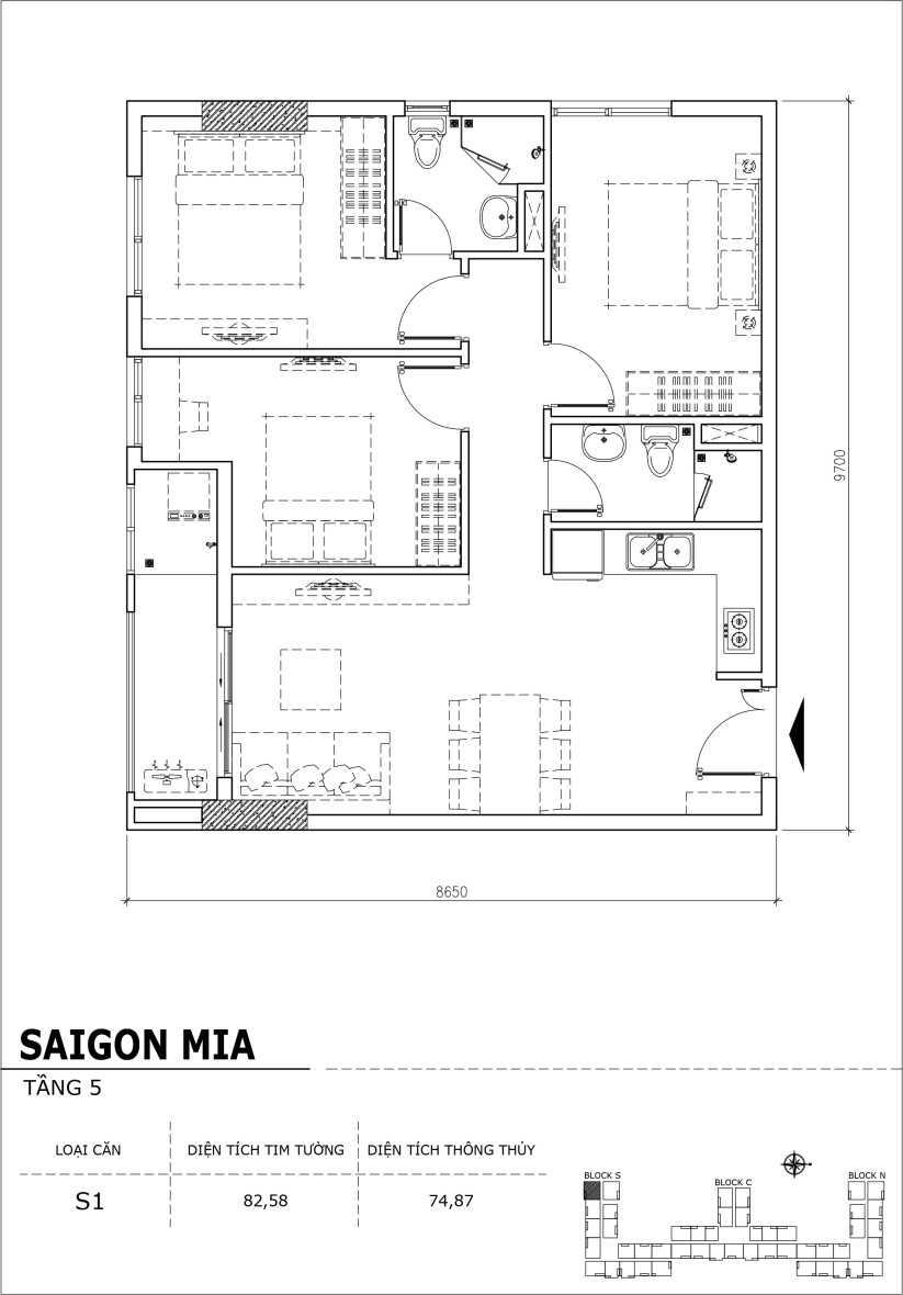 Chi tiết thiết kế căn hộ sân vườn Sài Gòn Mia tầng 5, mã căn S01