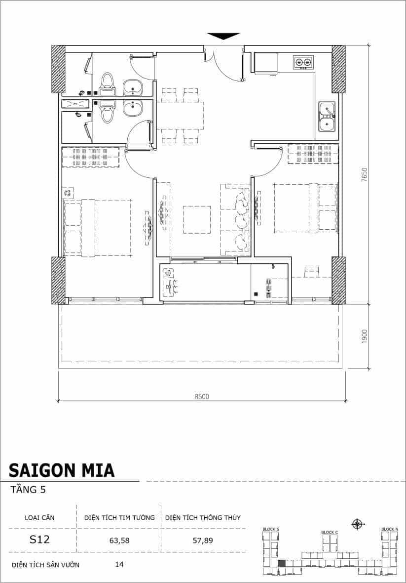 Chi tiết thiết kế căn hộ sân vườn Sài Gòn Mia tầng 5, mã căn S11