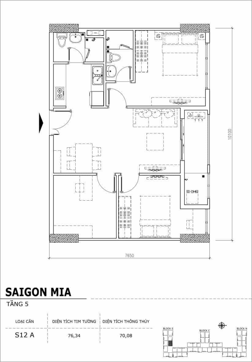 Chi tiết thiết kế căn hộ sân vườn Sài Gòn Mia tầng 5, mã căn S12