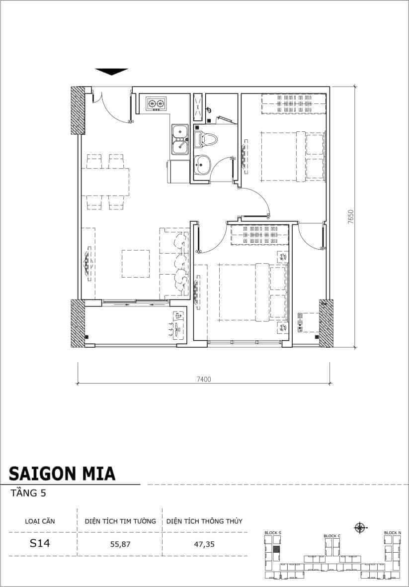 Chi tiết thiết kế căn hộ sân vườn Sài Gòn Mia tầng 5, mã căn S12A