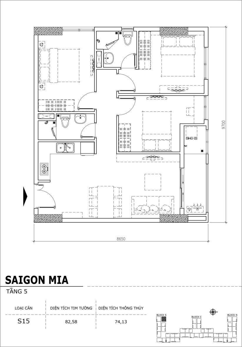 Chi tiết thiết kế căn hộ sân vườn Sài Gòn Mia tầng 5, mã căn S14