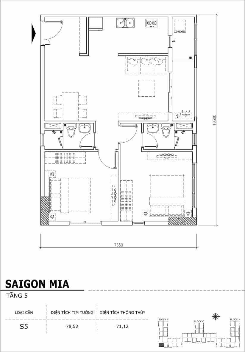 Chi tiết thiết kế căn hộ sân vườn Sài Gòn Mia tầng 5, mã căn S05