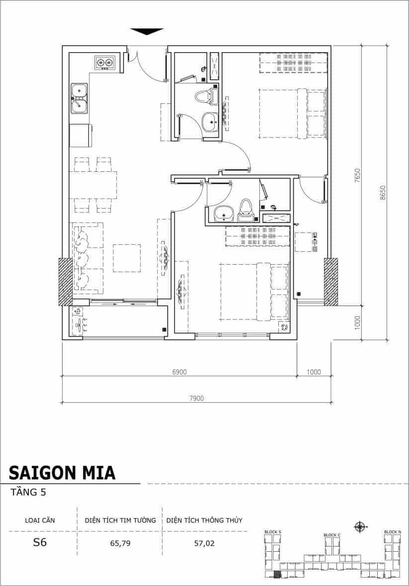 Chi tiết thiết kế căn hộ sân vườn Sài Gòn Mia tầng 5, mã căn S06