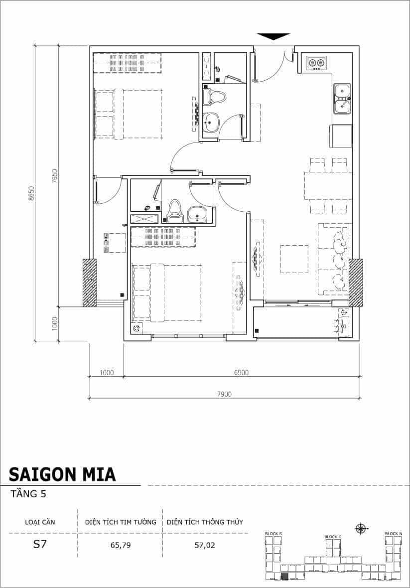 Chi tiết thiết kế căn hộ sân vườn Sài Gòn Mia tầng 5, mã căn S07