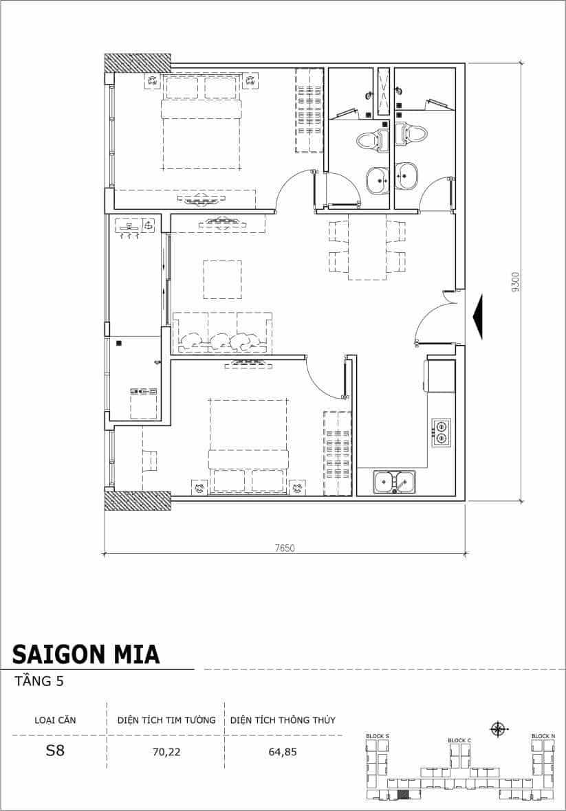 Chi tiết thiết kế căn hộ sân vườn Sài Gòn Mia tầng 5, mã căn S08