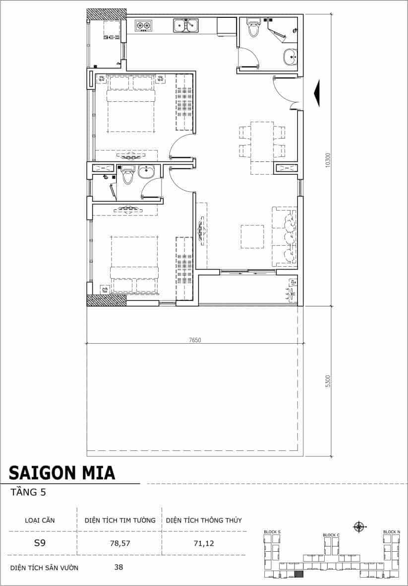 Chi tiết thiết kế căn hộ sân vườn Sài Gòn Mia tầng 5, mã căn S09